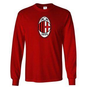 Youth Kids AC Milan Soccer Logo Long Sleeve